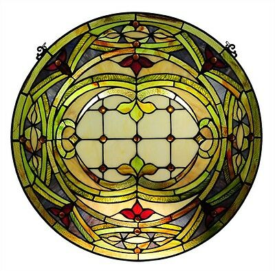 """PAIR Hand-crafted Stained Glass 24"""" Round Window Panel Cut Glass Tiffany Style"""