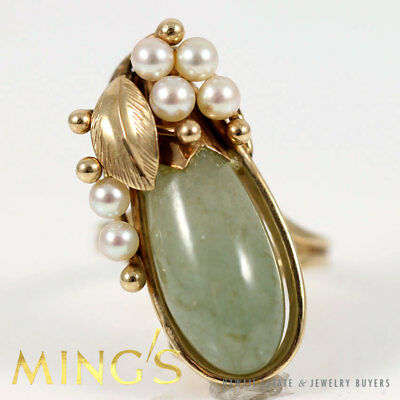 Authentic Ming's Hawaii Tear Drop Jade & Pearl 14K Yellow Gold Ring Size 5