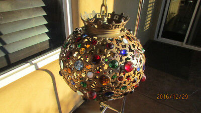antique jeweled chandelier hanging lamp victorian light fixture shade globe