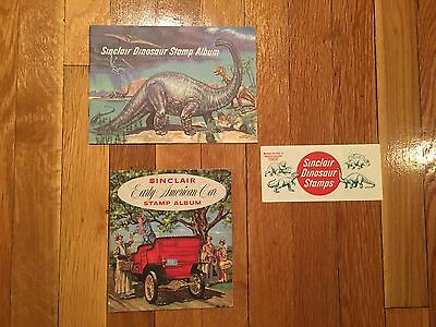 Vintage Sinclair Stamp Album Lot - Dinosaur Stamps - Early American Car 1950s