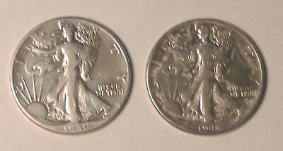 Silver Walking Liberty Half Dollar Lot Of 2 Coins - Free Shipping