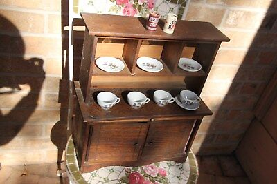 Antique Primitive Wood Child's Toy Kitchen Cupboard Cabinet Hutch w/ Cat Dishes