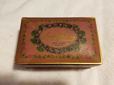 Vintage Louis Sherry New York Paris candy tin with violets