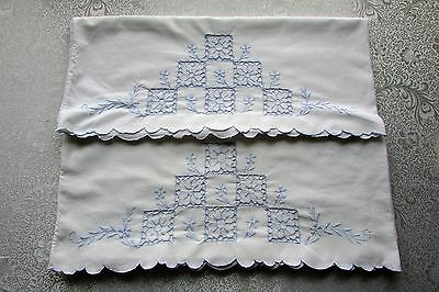 Vintage Pair of White Pillowcases Embroidered Blue with Open Cut Work