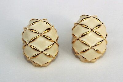 Elegant Vintage Signed Nordstrom Off White Enamel Gold Tone Clip On Earrings