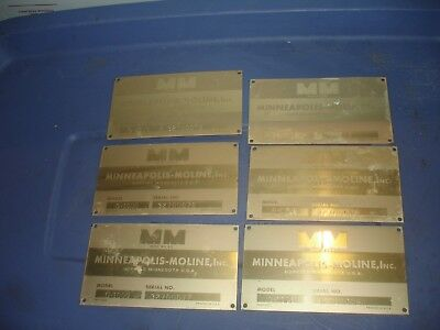 6 Vintage Minneapolis Moline tractor plates Model G-1000 lot