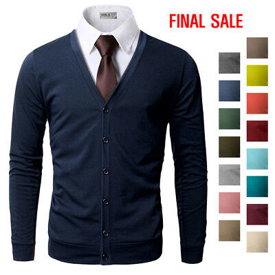 [FINAL SALE]Doublju Mens V-Neck Slim Fit Cardigan
