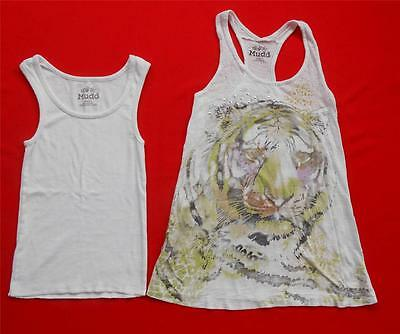 Pair of 2 ~ MUDD White Graphic Tank Tops ~ Tiger ~ Size Juniors SMALL