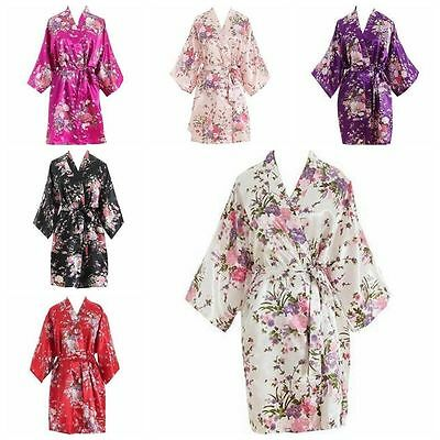 Women Short floral Robe Dressing Gown Bridal Wedding Bride Bridesmaid Kimono hot
