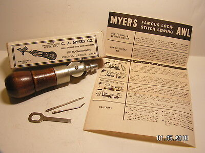 VINTAGE  C. A.  MYERS CO.  LOCK STITCH SEWING AWL with ORIGINAL BOX/INSTRUCTIONS