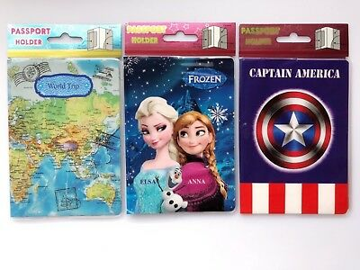 Girl Boy Adult Frozen or captain america or map Passport Case Cover Protector