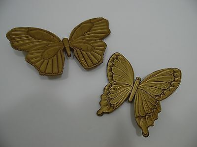 Home Interiors Butterfly Wall Plaque Set of 2 Dart Homco Gold A7291 B7291 Decor