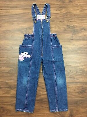Vtg 80s 90s Baby Girl Denim Overalls 24M Pink Flannel Lined Embroidered Clown