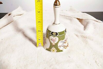"""Porcelain painted Bell, Asian style artwork, 5"""" tall."""