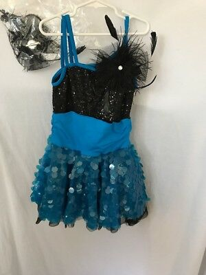 Blue Weissman Lyrical Dance Costume Child Medium &Hair Bow Shorts Under Skirt
