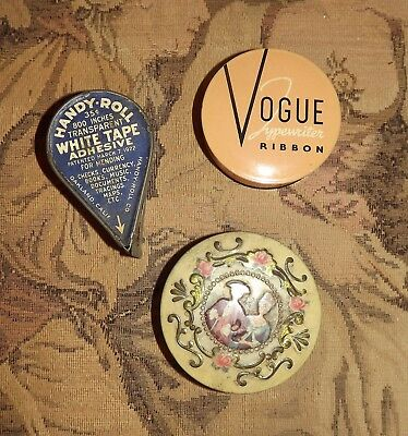 Lot of VINTAGE TINS Handy Roll Tape 1922 Vogue Ribbon & England Victorian Couple