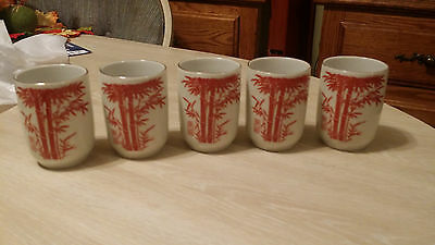 5 Vintage Asian Style Teacups Ceramic White with Orange Bamboo Design Signed