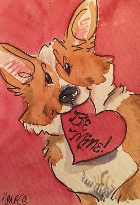 ACEO Pembroke Corgi Happy Dog Valentines . A Watercolor Original Art By NFISH