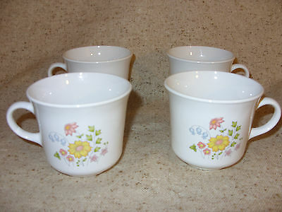 Set of 4 Corelle Corning Ware Spring Meadow Coffee Cups  Exc Cond.