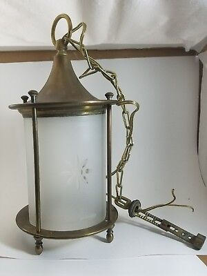 ANTIQUE VINTAGE RARE 1900's Brass/Copper HANGING CEILING LIGHT LAMP FIXTURE!