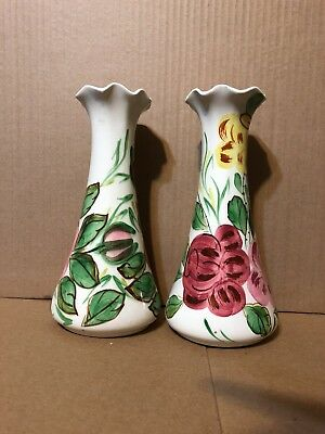 Vintage Blue Ridge Southern Pottery Flower Vase Hand Painted Roses