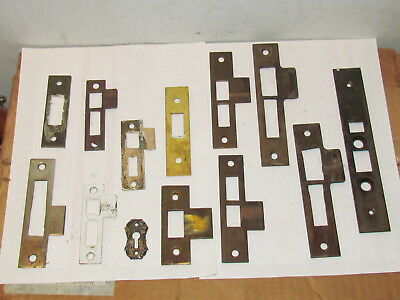 Vintage Antique Hardware Lot Mortise Lock Door Strike Plates #9