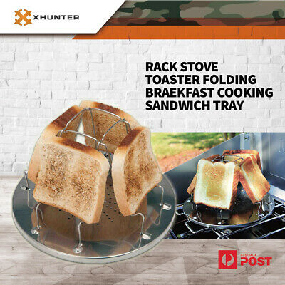 Toast RACK Stove Toaster Folding Breakfast Cooking Sandwich Tray Outdoor Camping