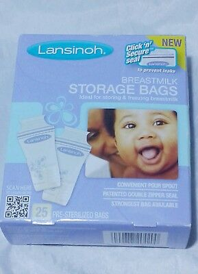 Lansinoh BPA Free Breastmilk Pre-Sterilized Storage Freeze Bags 25 Pk