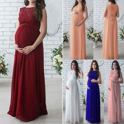 Pregnant Women Long Lace Dress Maternity Maxi Prom Gown for Photography Shoots