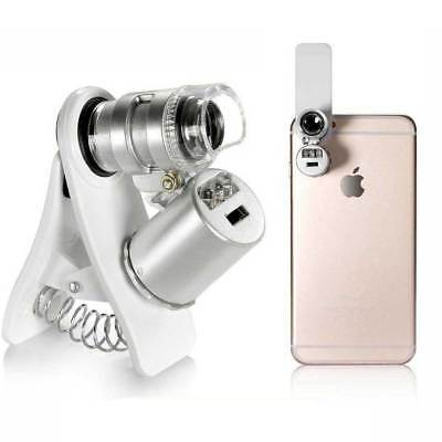 60X Zoom Microscope Clip Magnifier Camera LED Micro Lens For All Cell Phone
