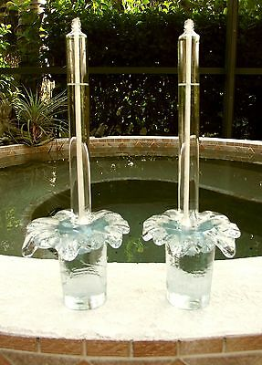 2-Piece Set / Lot BLENKO Heavy Melting Ice Clear Art Glass Tapered Candle Holder