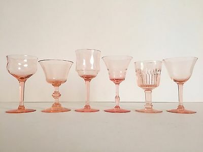 Vintage Mid Century Collected Blush Pink Petit Wine Glasses - Mixed Set Of 6