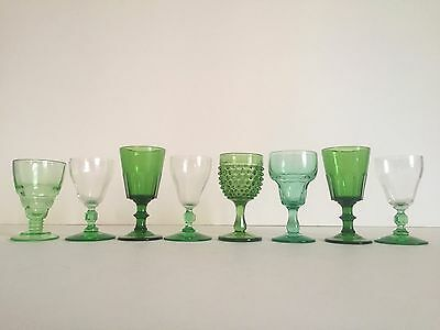 Vintage Mid Century Collected Green Petit Wine Cordial Glasses - Mixed Set Of 8