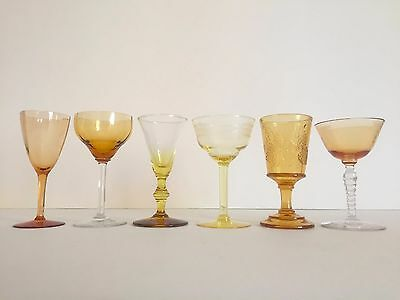 Vintage Mid Century Collected Amber Yellow Petit Wine Glasses - Mixed Set Of 6