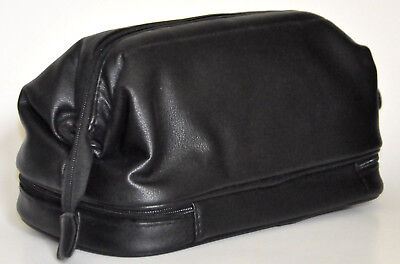 Men's Deluxe 2 Compartment Zip Close Toiletry Travel Bag, Black - New