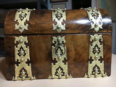 Antique Gothic Revival Engraved Brass Strap Jewelry Letter Box Casket C1850
