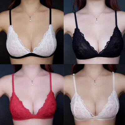 Womens Lace Mesh Brassiere Perspective Lined Bra Sets Under Panty AA A B C Cup