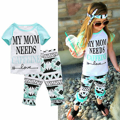 US Stock Toddler Kids Baby Girl Casual Clothes T-shirt Tops+Ruffle Pants Outfits