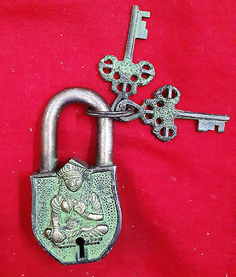 Vintage Brass handcarved Hindu Goddess with crown 2 keys Lock Padlock BM-304