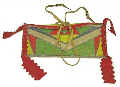 Crow ca 1880 Elk Rawhide Trade Painted Pouch