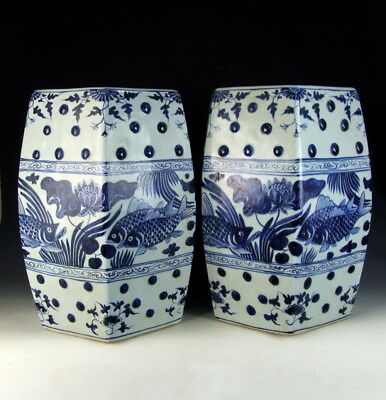 Pair of Chinese Antique Blue&White Porcelain Garden Stools with Fish&Water-weeds