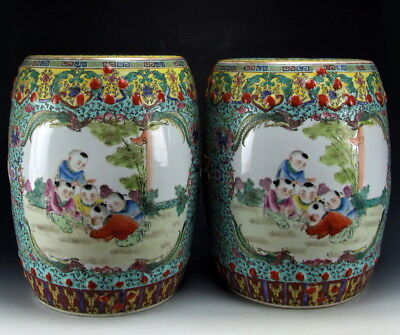 Chinese Antique Pair of Famille Rose Porcelain Garden Stools w Playing Boys Deco