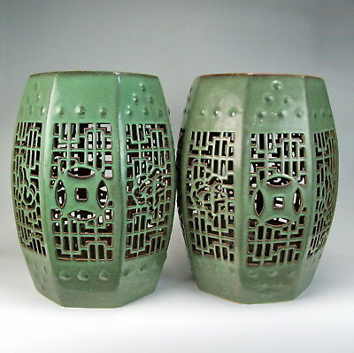 Chinese Antique Pair of TeaDust Green Glazed Porcelain Garden Stools Hollow-Out