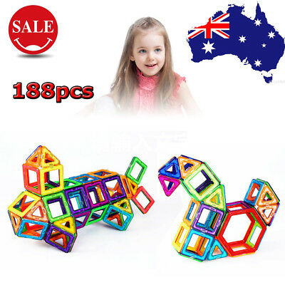 188pcs 3D Magnetic Blocks Building Toys For Boys Girls Magnet Tiles Kits AU Ship