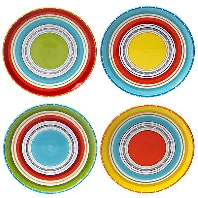 Multi Color Dinner Plates Hand Painted Lead Free Ceramic (Set of 4), 10.75""