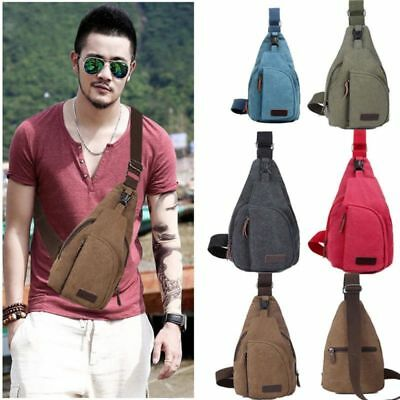 Trendy Chest Backpack Single Strap Sport Men's Bag Hiking Shoulder Canvas New