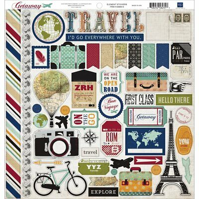 Echo Park Paper Getaway Cardstock Stickers, 12 by 12-Inch