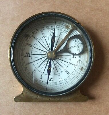 Antique Brass Pocket Compass With Attachment & Sliding Circle