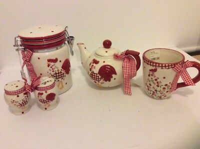 Red Hen Kitchen Set Teapot Mugs x 4 Storage Jar Salt & Pepper Box Set Kitchen