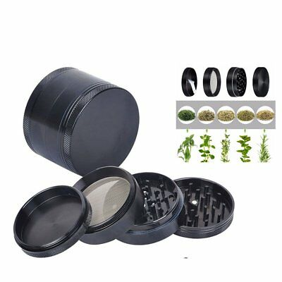 4 layer Zinc Alloy Hand Crank Herb Mill Crusher Tobacco Smoke Grinder Black